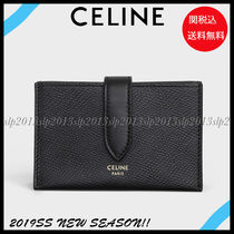 CELINE Unisex Calfskin Blended Fabrics Plain Card Holders