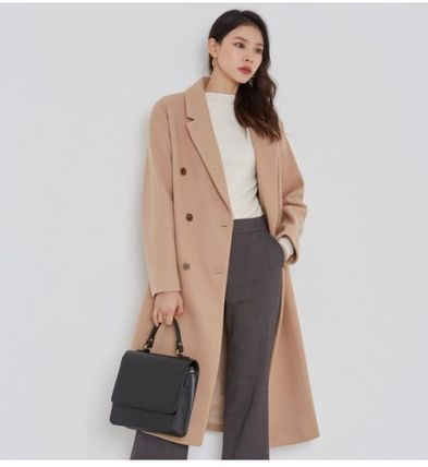Wool Plain Long Oversized Elegant Style Wrap Coats