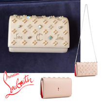 Christian Louboutin Paloma Calfskin Studded Bag in Bag 2WAY With Jewels Elegant Style