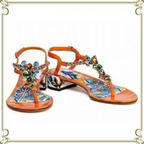 Dolce & Gabbana Flower Patterns Open Toe Casual Style Leather Sandals