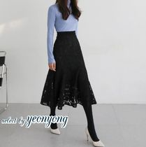 Flared Skirts Flower Patterns Casual Style Plain Long Midi