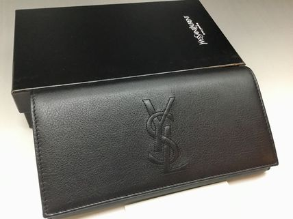Saint Laurent Unisex Leather Logo Long Wallets