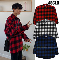 ASCLO Gingham Casual Style Unisex Wool Long Sleeves Medium