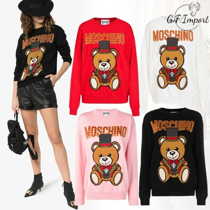 Crew Neck Casual Style Long Sleeves Other Animal Patterns