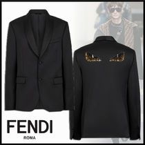 FENDI Short Wool Plain With Jewels Blazers Jackets