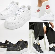 Nike AIR FORCE 1 Casual Style Faux Fur Studded Low-Top Sneakers