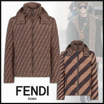FENDI Short Stripes Monogram Down Jackets