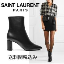 Saint Laurent LOU Plain Leather Elegant Style Chunky Heels