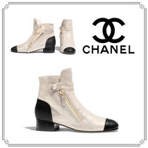 CHANEL Square Toe Casual Style Plain Leather Block Heels
