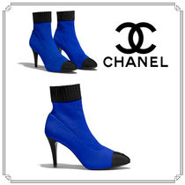 CHANEL Plain Pin Heels Ankle & Booties Boots