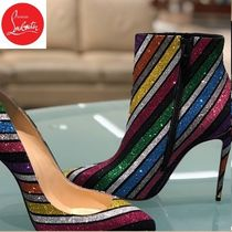 Christian Louboutin Stripes Pin Heels Party Style Ankle & Booties Boots
