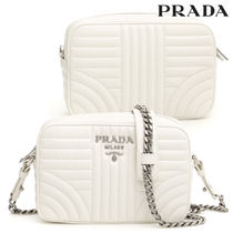 PRADA Plain Leather Elegant Style Shoulder Bags