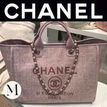 CHANEL DEAUVILLE Casual Style Canvas Blended Fabrics Street Style A4 2WAY