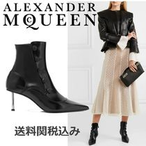 alexander mcqueen Plain Leather Pin Heels Elegant Style Ankle & Booties Boots