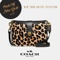 Coach Leopard Patterns Casual Style Street Style Leather
