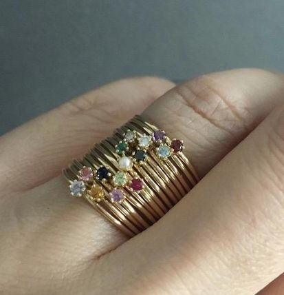 18K Gold With Jewels Rings