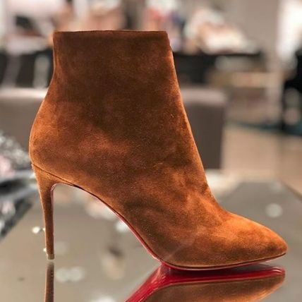 new arrivals 104dc ec069 Christian Louboutin Eloise 2019 SS Suede Plain Pin Heels Elegant Style  Ankle & Booties Boots (3180748C329)