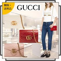 GUCCI GG Marmont Blended Fabrics 2WAY Chain Plain Leather Elegant Style