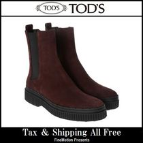 TOD'S Round Toe Rubber Sole Suede Blended Fabrics Plain Handmade