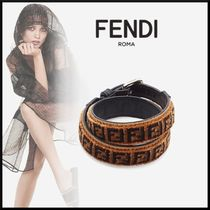FENDI Blended Fabrics Leather Elegant Style Bracelets