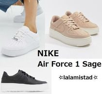 Nike AIR FORCE 1 Platform Lace-up Casual Style Street Style Plain Leather