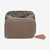 HERMES Silk In Unisex Blended Fabrics Leather Coin Purses