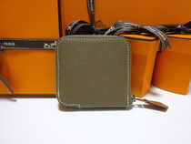 HERMES Silk In Unisex Blended Fabrics Plain Leather Coin Purses