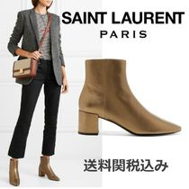 Saint Laurent LOULOU Plain Leather Elegant Style Chunky Heels
