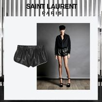 Saint Laurent Leather Leather & Faux Leather Shorts