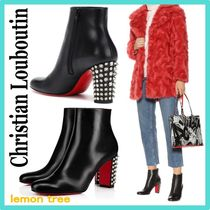 Christian Louboutin Studded Plain Leather Party Style Chunky Heels