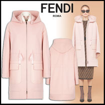 FENDI Wool Plain Medium Elegant Style Coats