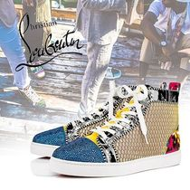 Christian Louboutin LOUIS Enamel Blended Fabrics With Jewels Sneakers