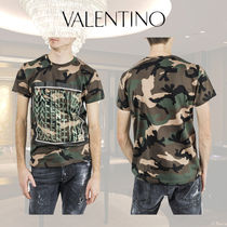 VALENTINO Camouflage Cotton Short Sleeves Polos
