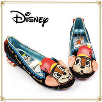 Disney Round Toe Casual Style Faux Fur Collaboration Flats