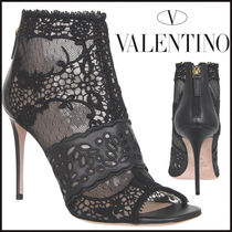 VALENTINO Blended Fabrics Leather Pin Heels Elegant Style