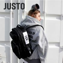 JUSTO Unisex Street Style Collaboration A4 Plain Backpacks
