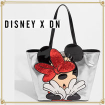 Disney Casual Style Faux Fur Collaboration Totes