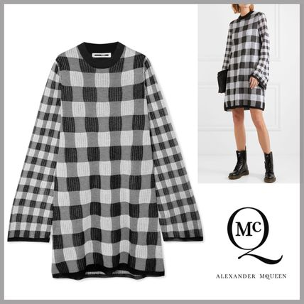 Crew Neck Short Other Check Patterns Long Sleeves Dresses