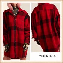 VETEMENTS Other Check Patterns Casual Style Wool Long Sleeves Long