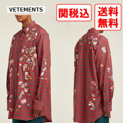 VETEMENTS Shirts Other Plaid Patterns Street Style Long Sleeves Cotton Shirts