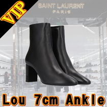 Saint Laurent Plain Leather Block Heels Elegant Style