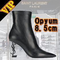 Saint Laurent Plain Leather Elegant Style Ankle & Booties Boots