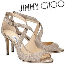 Jimmy Choo Other Check Patterns Open Toe Leather Pin Heels