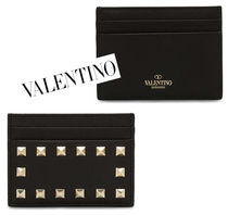 VALENTINO Studded Leather With Jewels Card Holders