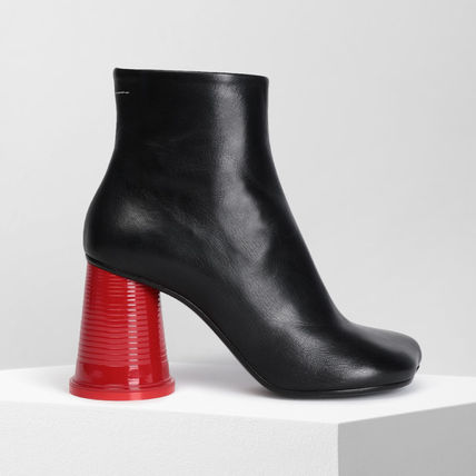 Square Toe Plain Leather Block Heels Ankle & Booties Boots