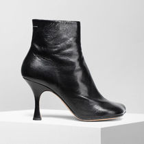MM6 Maison Margiela Square Toe Plain Leather Block Heels Ankle & Booties Boots