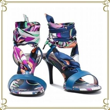 Open Toe Leather Pin Heels Party Style Sandals