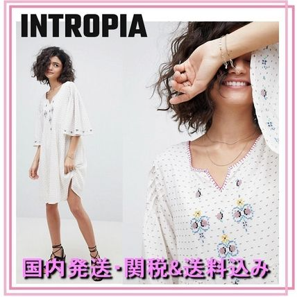 Short Dots Casual Style Blended Fabrics Cotton Puff Sleeves