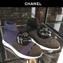 CHANEL Round Toe Casual Style Blended Fabrics Plain