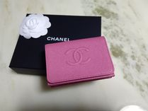 CHANEL TIMELESS CLASSICS Plain Leather Small Wallet Folding Wallets